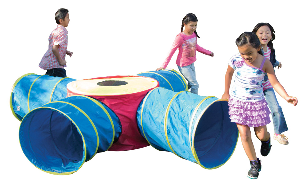 Pacific Play Tents Institutional Tunnels of Fun Junction Tunnel Set with Four 4' Long Tunnels, Polyester