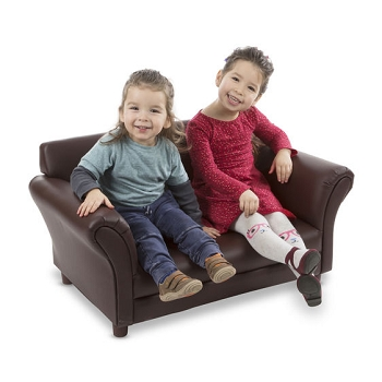 Port Townsend Children's Sofa with Durable Coffee Faux Leather