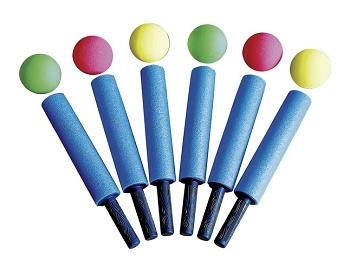 Striker Sports Bumper Sticks, Set of 6 Foam Bats and 6 Foam Balls