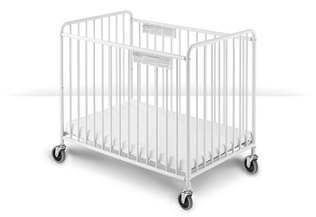 Chelsea Compact Non-Folding Slatted Steel Crib with Oversized Casters