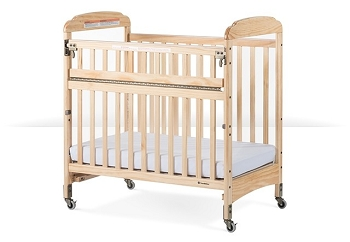 Next Gen Serenity Compact SafeReach crib with adjustable mattress board, Clearview, Natural