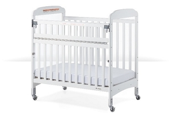 Next Gen Serenity Compact SafeReach crib with adjustable mattress board, Clearview, White