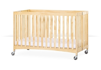 Travel Sleeper® Full Size Folding Wood Evacuation Crib with Oversize Casters