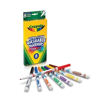 Crayola Ultra-Clean Washable Fine Line Markers - Classic Colors - Set of 8