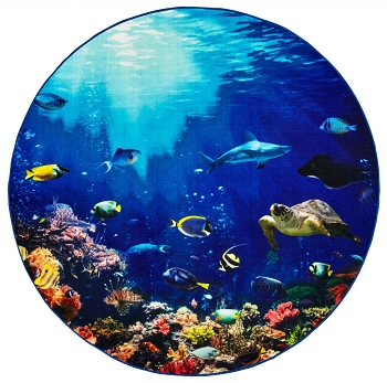 Explore the Ocean Round Carpet with Photo Real Images