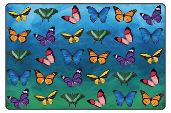 Beautiful Butterfly Seating Rug with Photo Real Images