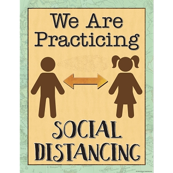 Travel the Map - We are Practicing Social Distancing Chart