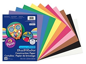 Sunworks Construction Paper, 9 x 12 - Choice of 12 Colors - 50 Count