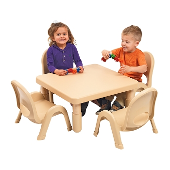 Value 28'' Square Table and 4 Chair Set, Toddler or Preschool, Select Natural or your color choice