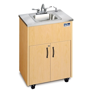 Silver Premier Adult Size Hot Water Portable Sink with Stainless Steel Basin & counter top