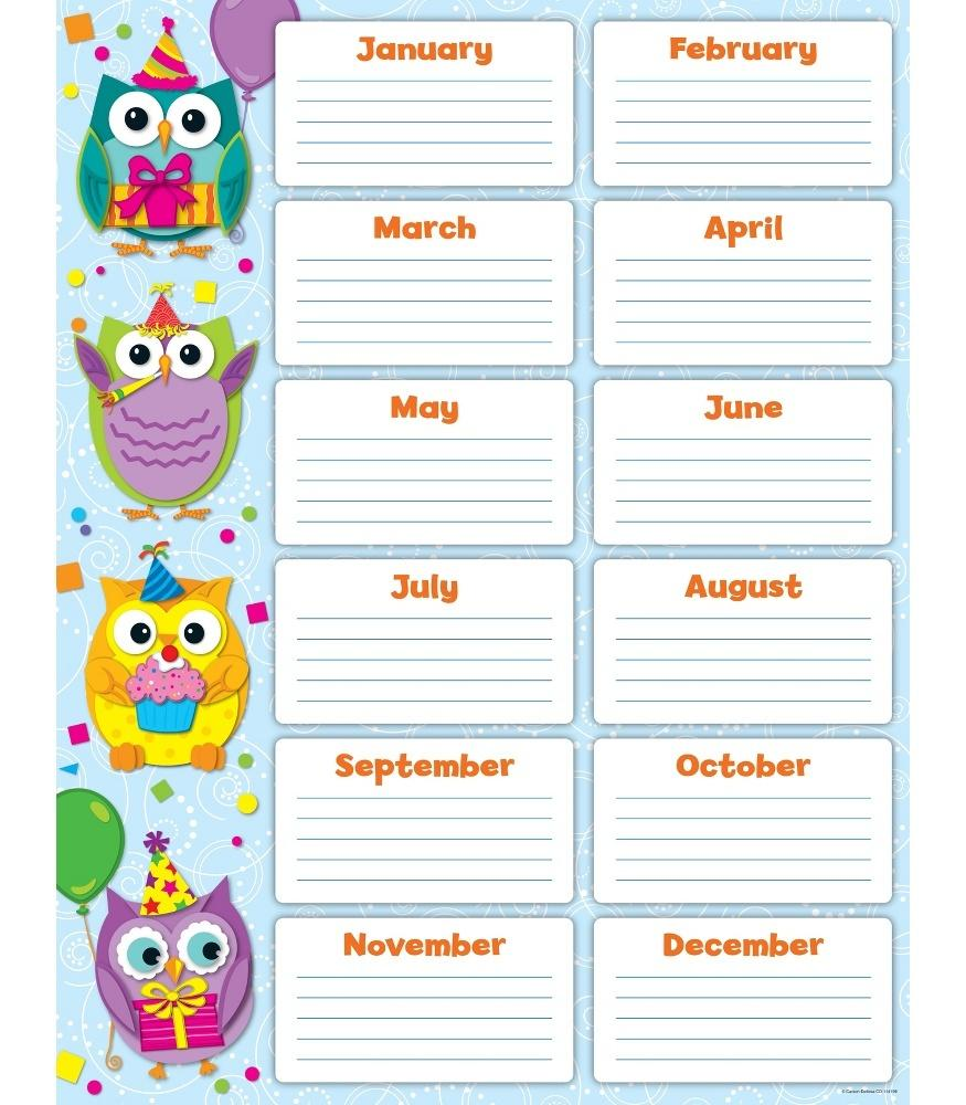 Colorful Owls - Birthday Chart