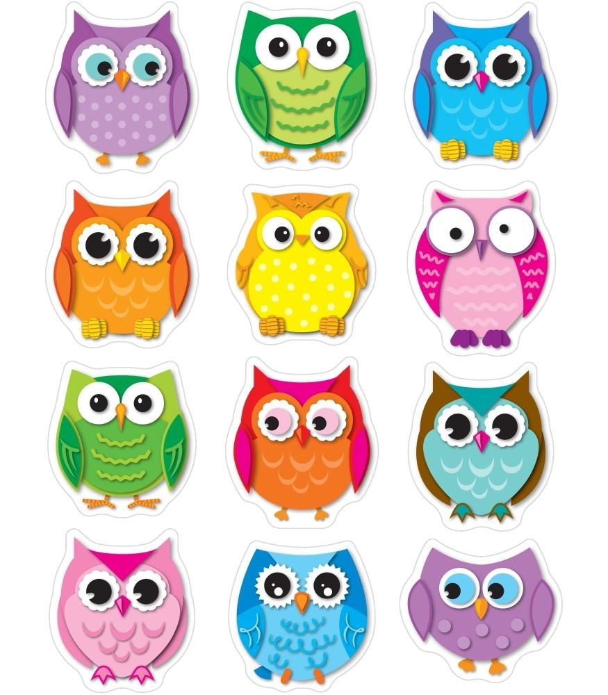 Colorful Owls - Shape Stickers