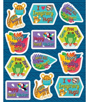 One World Germ Busters Shape Stickers