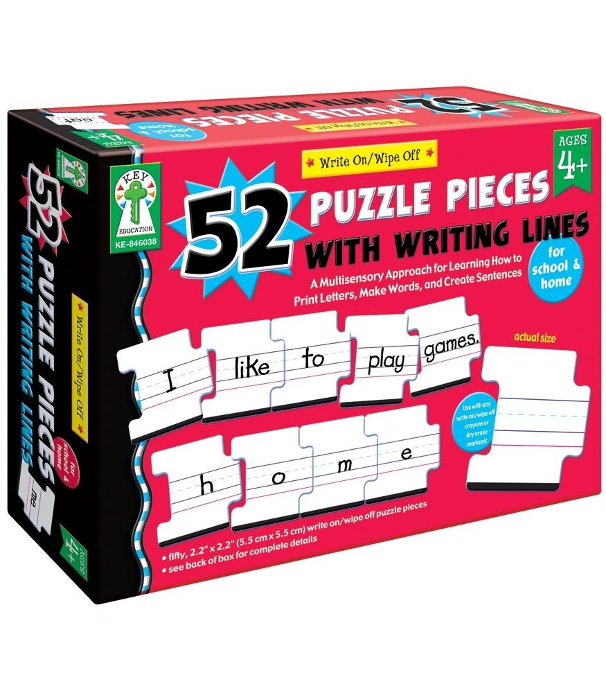Write-On/Wipe-Off: 52 Puzzle Pieces with Writing Lines Manipulative