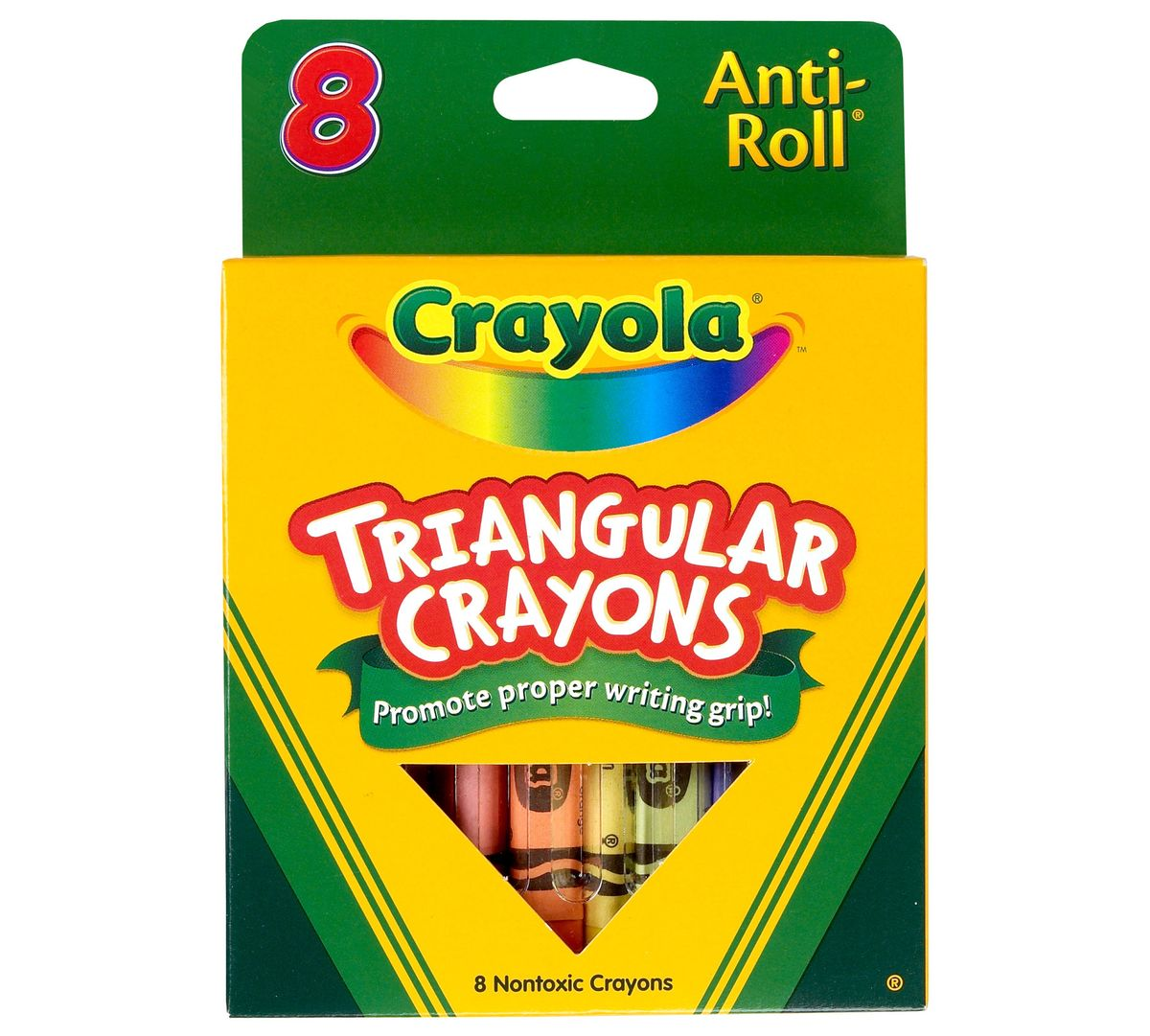 Anti-Roll Triangular Crayons - 8 Count