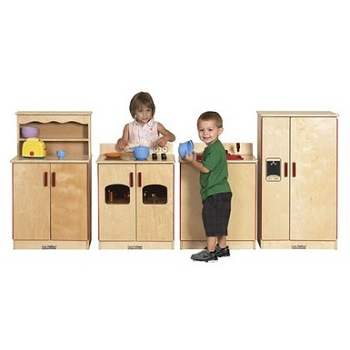 Classic Birch 4-Piece Preschool Play Kitchen Set