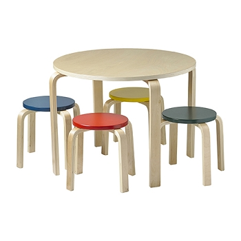 Bentwood Table and Stools Set - Assorted Colors