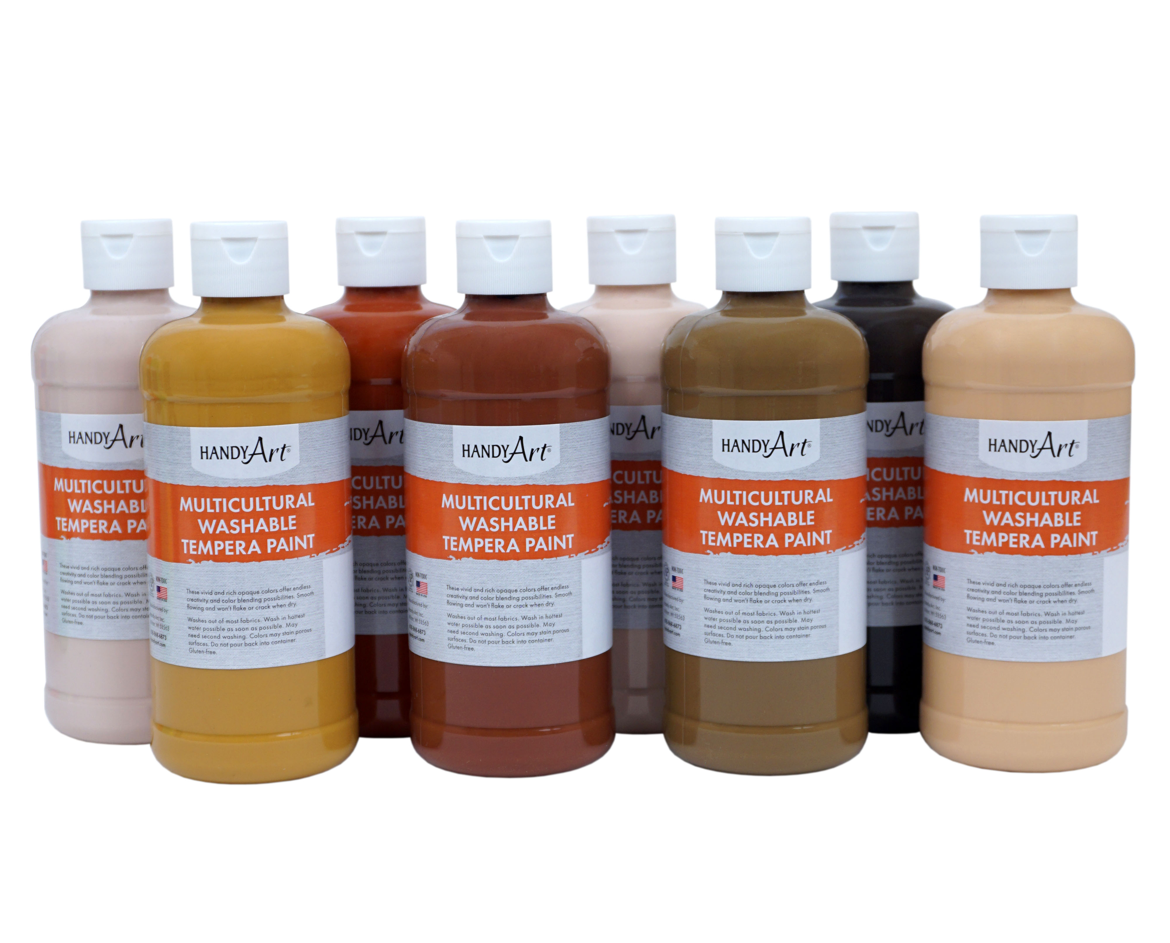 Handy Art Multicultural Washable Tempera Paint Set - 8 Colors Total, 16 oz