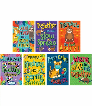 One World Healthy & Happy Poster Set of 7 Posters - Help Teach Students and Staff Safe Practices