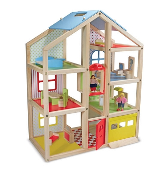 Hi-Rise Doll House includes 15 Pieces of Furniture and 3 People