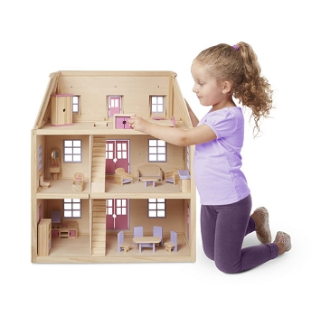 Multi-LevelSolid Wood Dollhouse with 19 pc. furniture set