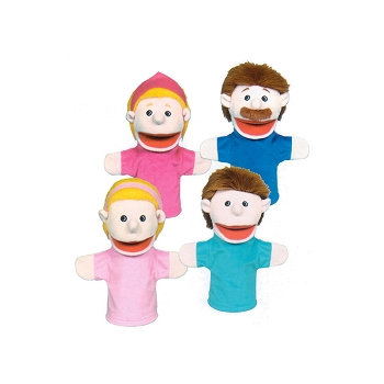 Family Bigmouth Puppets Caucasian - Family of 4