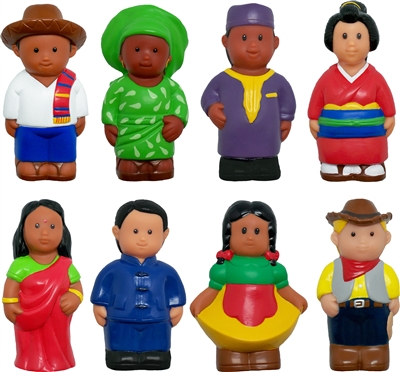 Around-the-World Block Play Figures - Set of 8