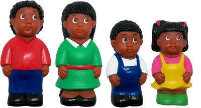 African American Family 5'' Block Play Chunky Friends Figures - Set of 4
