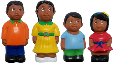 Hispanic Family 5'' Block Play Chunky Friends Figures - Set of 4
