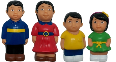 Asian Family 5'' Block Play Chunky Friends Figures - Set of 4