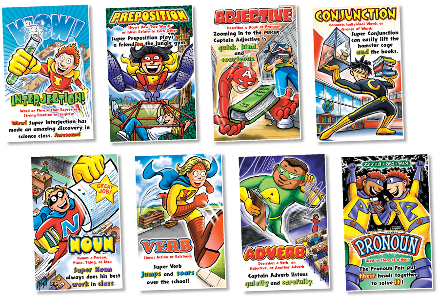 Parts of Speech Superhero Posters - Set of 8