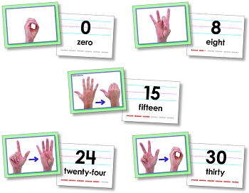 American Sign Language Number 0-30 Cards