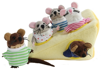 Mouse Family in Cheese - Hide-Away Puppet