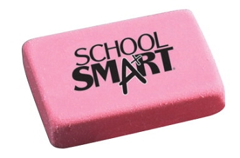 School Smart Large Latex-Free Smudge-Free Block Eraser, Pink - Pack of 40