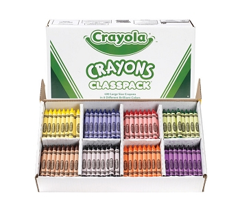 Crayola Large Crayon Classroom Pack, 8 Assorted Colors, Set of 400