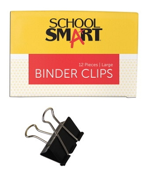School Smart Binder Clip, Large, 1