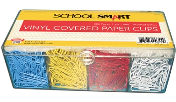 School Smart Metal Vinyl Coated Paper Clip, Standard - Assorted Color - Pack of 800