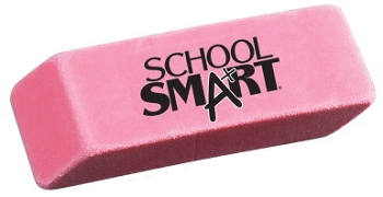 School Smart Beveled End Latex-Free Large Smudge-Free Eraser, Pink - Pack of 12