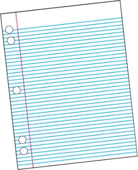 School Smart Sulphite 5-Hole Punched Theme Pad with Red Margin, White - 50 Sheets