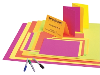 School Smart Poster Board, 12 Point Thickness - Assorted Fluorescent Color - Pack of 50
