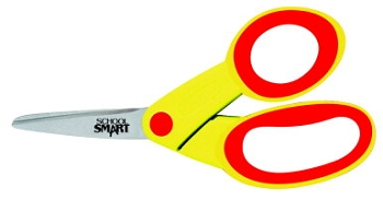 School Smart Durable Pointed Tip Kids Scissor, Stainless Steel Blade, Soft Overmold Grip Plastic Handle