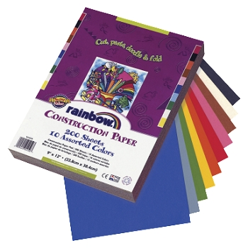 Pacon Super Value Economy Light-Weight Construction Paper - Assorted Rainbow Color - Pack of 200