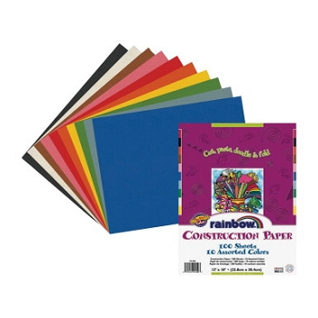 Pacon Super Value Economy Light-Weight Construction Paper - Assorted Rainbow Color - Pack of 100