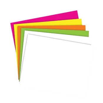 School Smart Poster Board - White/Assorted Neon Color - Pack of 50