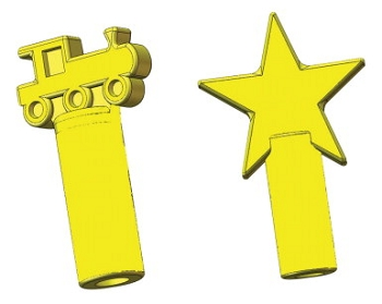 Oral Motor Chew Stixx Pencil Toppers - Train and Star - Set of 2 - Yellow