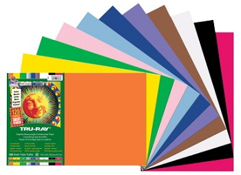 Tru-Ray Pacon Smart-Stack Sulphite Acid-Free Non-Toxic Construction Paper - Assorted Color - Pack of 120