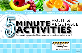 Learning ZoneXpress Book - 5 Minute Fruit & Vegetable Activities - Spiral Bound