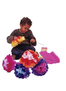 Kolorfast Pre-Cut Tissue Flower Kit with Instructions - Assorted Color - Pack of 7