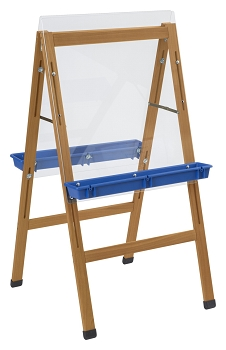 Outdoor/Indoor Classroom Wooden Easel with 2- Blue Paint Trays, 24