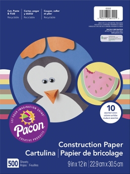 Rainbow Super Value Groundwood Light-Weight Construction Paper, 50 lb - Assorted Color - Pack of 500